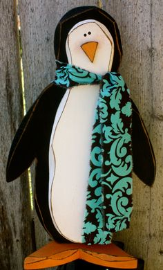 Carved Wood Penguin by ladybugsspot on Etsy