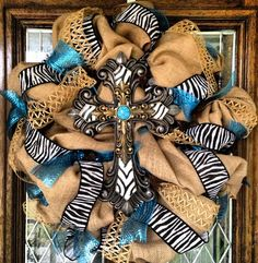 Cross Burlap Zebra print Wreath  by SissyGirlsCreations on Etsy, $100.00