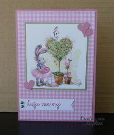 Marianne Design - VK9552 Bunny Love 2, Marianne Design - Pretty Papers Bloc PK9157 Soft Pastels, Stampin'up! - Hartjespons, Stampin'up! - Vlinderdans (tekst)