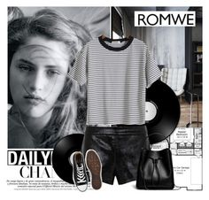 """""""Join my ROMWE contest: Striped Loose T-Shirt"""" by elmaimsirovic ❤ liked on Polyvore featuring Mason by Michelle Mason, Converse and 3.1 Phillip Lim"""