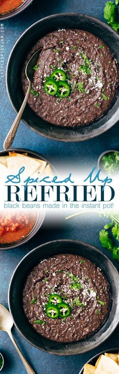 Quick and easy restaurant style refried black beans made right in your instant pot! The best part, you don't even have to presoak the black beans! Use these beans on nachos, as a side with enchiladas, for rice and bean quesadillas, or vegetarian tacos! Instant Pot Pressure Cooker, Pressure Cooker Recipes, Pressure Cooking, Pressure Cooker Refried Beans, Tostadas, Tacos, Mexican Food Recipes, Vegetarian Recipes, Healthy Recipes