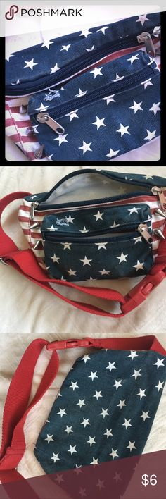FANNYPACK! Distressed, USA Theme GUC Zip pockets Bags Mini Bags