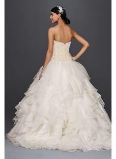 Popular Oleg Cassini Strapless Ruffled Skirt Wedding Dress CWG