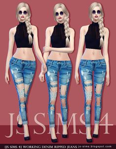[JS SIMS 4] Working Denim Ripped Jeans   JS SIMS