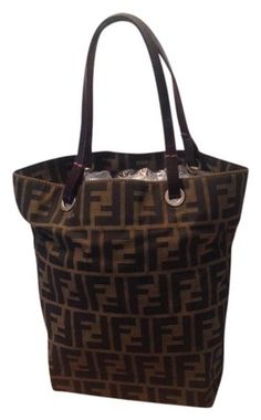 5a34b471db7b4c Fendi Zucca Pattern Monogram Handbag Brown Canvas / Leather Tote 93% off  retail