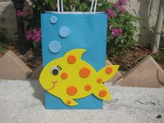 Fish Birthday Party Favor Bag by christinescritters on Etsy, $2.50