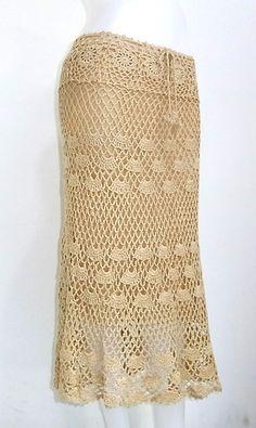 Crochet Long Skirt Beige Handwoven