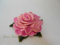 Felted flower brooch Felt rose  Felted Flower by Aurumvelleris