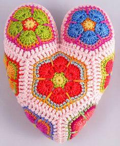 Ravelry: Hippy Hearts African Flower Crochet Pattern pattern by Heidi Bears