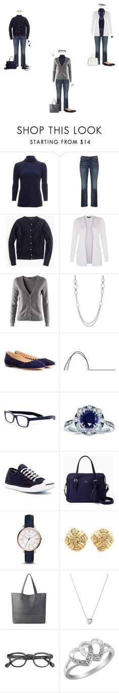"""Capsule Wardrobe: Navy Turtleneck and Jeans 1"" by tracy-gowen ❤ liked on Polyvore featuring White + Warren, Silver Jeans Co., J.Crew, H&M, Alfani, Chloé, French Connection, eyebobs, Kobelli and Converse"