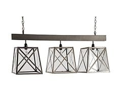 Lampadario a sospensione a 3 luci in legno Lanterns - 90x34 cm
