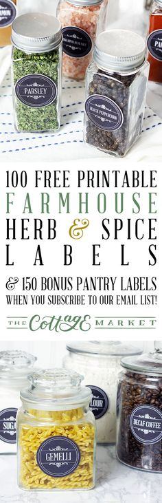 Come on in on this wonderful Free Printable Friday! We have a special treat for you...a set of Free Printable Farmhouse Herb and Spice Labels plus a Bonus Set of 150 Pantry Labels for all followers. So come on in and get that Kitchen Organized and looking great!