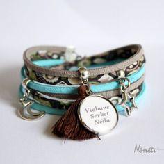 Bracelet liberty gris bleu vert médaille prénom (texte) ou photo - breloques - bijou personnalisable
