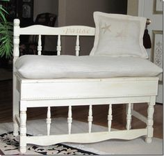 benches made from headboards.