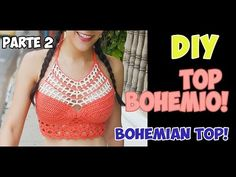 DIY Crochet Off the shoulders CropTop Top Tejidos A Crochet, Top Crop Tejido En Crochet, Crochet Bra, Crochet Bikini Top, Crochet Diagram, Crochet Woman, Crochet Summer Tops, Bohemian Tops, Crochet Videos