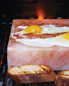 Bacon and Eggs cooked on a salt block. I need to try this on my block ASAP.