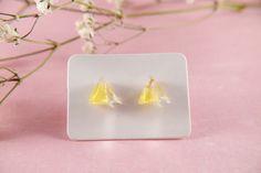 Small stud earrings real flowers yellow petal epoxy resin | Etsy