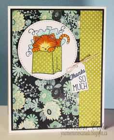 Newton's Thanks by thecircleguru - Cards and Paper Crafts at Splitcoaststampers Cat in gift bag stamp by Newton's Nook Designs