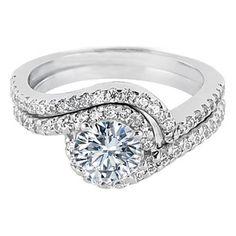 Swirl Diamond Halo Engagement Ring and Matching Wedding Band - ES345MODBS