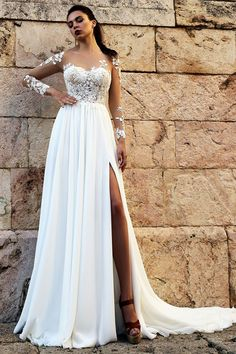 Attractive Tulle & Chiffon Sheer Jewel Neckline A-line Wedding Dress With Lace Appliques & Slit