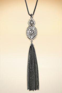 Crystal tassel necklace #BostonProper #Holiday #Sparkle