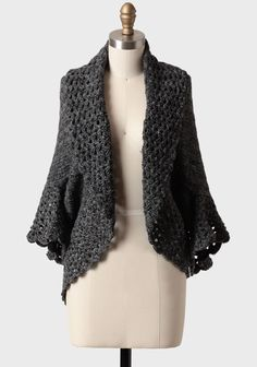 Munich Crocheted Cocoon Sweater In Charcoal | Modern Vintage Simplistic Style - mom