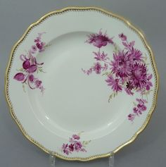 Meissen Teller,purpur Camaieu, Goldgräser,Goldwellenkante, D=24,5cm,1.Wahl, #2c | eBay