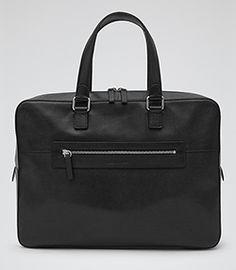 Clanton Black Leather Briefcase - REISS