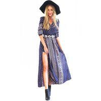 GD190 New S-XL Womens Autumn Ethinc Print Half Sleeve Side Slit Bohemian Dress Ankle Length Maxi Long Beach Casual Dress