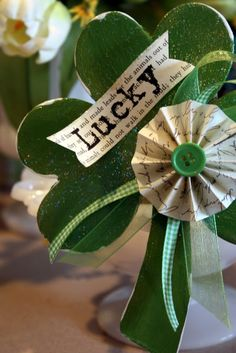 Sweet Something Designs: Lucky Clover with paper rosette for St. Patrick's Day
