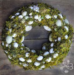 Love this wreath for my living room! 100 eggs Easter wreath - Door wreath. $40.00, via Etsy.