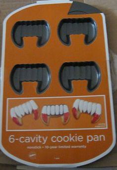 WILTON 6-CAVITY FANG TEETH HALLOWEEN COOKIE PAN...take cookies into the office on halloween