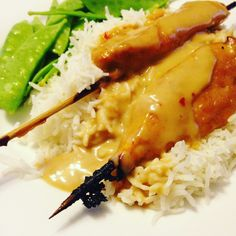 My Sweet 'n Salty Chicken Satay Skewers Recipe. Click to get it now! Chicken Satay Skewers, Skewer Recipes, Sweet And Salty, Food Hacks, I Foods, Risotto, Meals, Dishes, Ethnic Recipes
