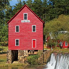 """""""Small Town We Love: Senoia, Georgia - Southern Living"""". Starr's Mill is one of the most photographed scenes in Georgia."""