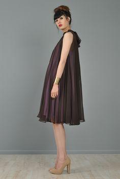 3-In-1 1960s Silk Chiffon Convertible Trapeze Dress | BUSTOWN MODERN