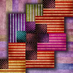American Flags on Stretched Canvas by RubinoFineArt on Etsy
