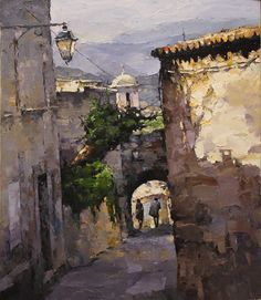 Alexi Zaitsev 'Old street' -oil...Russian painter. He is an impressionist artist. Love his work♥