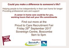 Visit Horizon Homecare at their Recruitment Event at Poole Job Centre on Friday 24th March 10am - 2pm for part time & full time domiciliary care positions.
