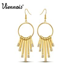 Newest Viennois Fashion Jewelry Gold Plated Round Circle Dangle Earrings for Woman Rhinestone Long Tassel Earrings
