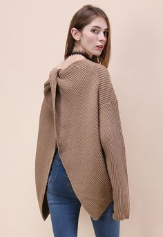 Make it Trendy Twist Knot Oversize Sweater in Tan - New Arrivals - Retro, Indie and Unique Fashion