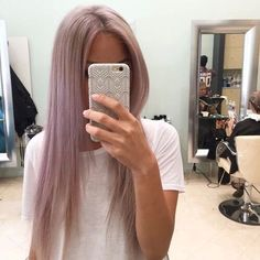 Dusty rose hair color, long straight hairstyle