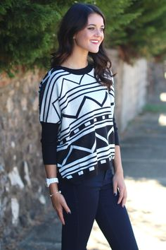 Geometric Cutie Sweater {Black+White}