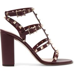 Valentino The Rockstud embellished leather sandals ($835) ❤ liked on Polyvore featuring shoes, sandals, heels, valentino, saltos, heeled sandals, block heel sandals, stiletto sandals, ankle strap sandals and ankle strap heel sandals