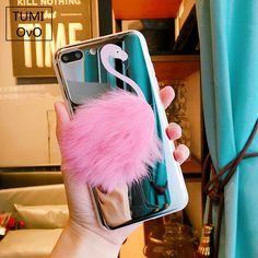 Pink Fur Flamingo Plush Luxury Mirror iPhone Case - Just Pink About It - We are dedicated to the color PINK and finding products for PINK color fans. Find unique, fun and quality PINK products. PINK women's apparel, shoes, home decor, pet products, kitchen appliances and much more.