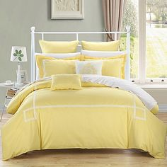 Chic Home Woodford Comforter Set in Yellow || 7 piece, no sheets || $170 Console, Camas King, Embroidered Bedding, Bed In A Bag, Queen Comforter Sets, Yellow Comforter Set, Yellow Bedspread, Yellow Bed Sheets, My New Room