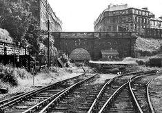 Scotland Street Station photographed around 1960 Old Town Edinburgh, Edinburgh Scotland, Scotland Street, Disused Stations, Steam Railway, Train Tracks, Glasgow, Abandoned, Scenery