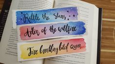 Throne of Glass Watercolor Bookmarks by Marquisdusoleil.   Stylishly colorful watercolor bookmarks with ink drawing embellishments. These vibrant, sturdy bookmarks are the perfect match for your favorite hardcovers.  ~Hand-painted on 140 lb cold-pressed watercolor paper.