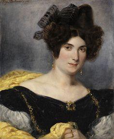 """Eugène Delacroix: """"Madame François Simon"""",1829 oil on canvas, Dimensions:hauteur : 61 cm. largeur : 51 cm, Staatliche Kunsthalle Karlsruhe."""