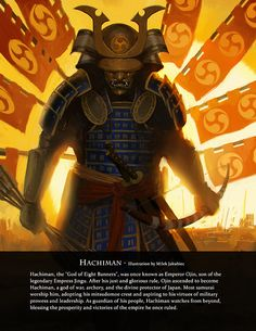 Hachiman, Japanese God of War, by Milek Jakubiec. From Immortal - Art Book of Myths and Legends - on Kickstarter https://www.kickstarter.com/projects/game-o-gami/immortal-art-book-of-myths-and-legends?utm_source=Direct%20Messages&utm_medium=Email&utm_campaign=Kickstarter%20Immortal%20Book%20Email