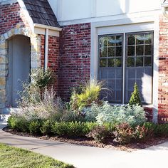 While the planting looks great spring to fall, it was also designed for winter interest. The boxwoods, as well as a dwarf Alberta spruce, provide evergreen color and the ornamental grasses look great in the down season, too.